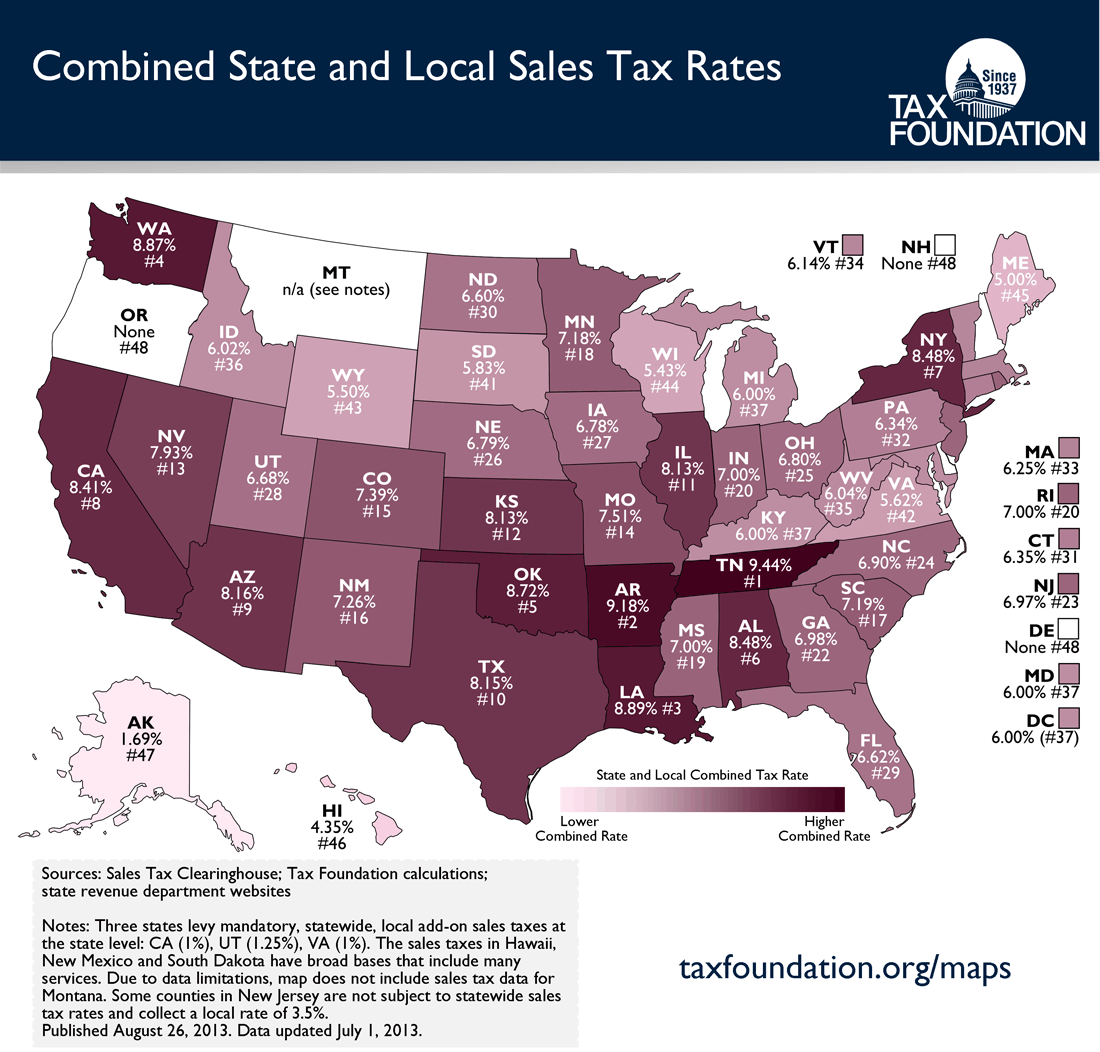 US Tax Rates Map